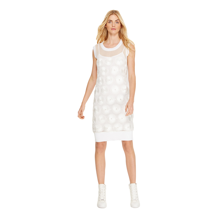 WHITE DKNY FLORAL MESH DRESS Outlet Online