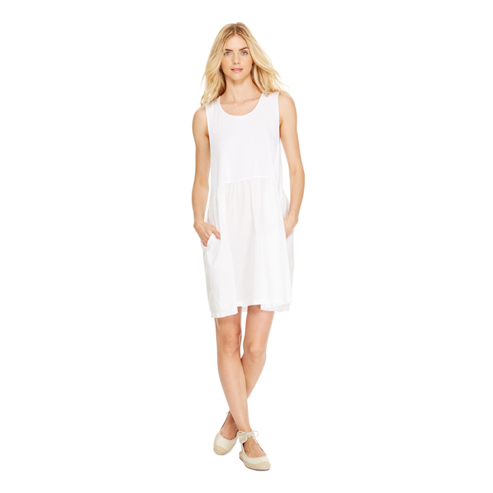WHITE DKNY DKNYPURE SLEEVELESS COTTON DRESS Outlet Online