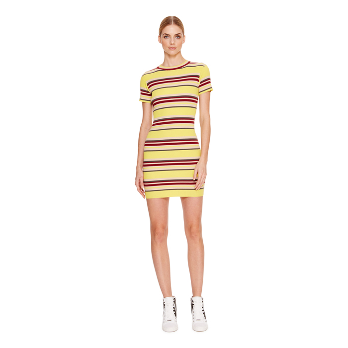 LUX YELLOW DKNY STRIPED MINI DRESS Outlet Online
