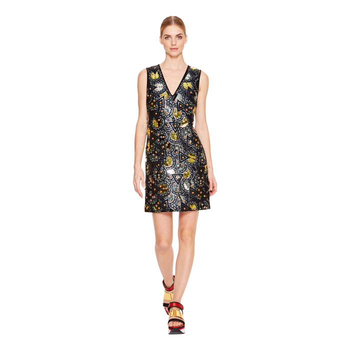 BLACK DKNY EMBELLISHED V-NECK DRESS Outlet Online