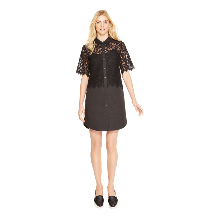 BLACK DKNY LACE BODICE SHIRT DRESS Outlet Online