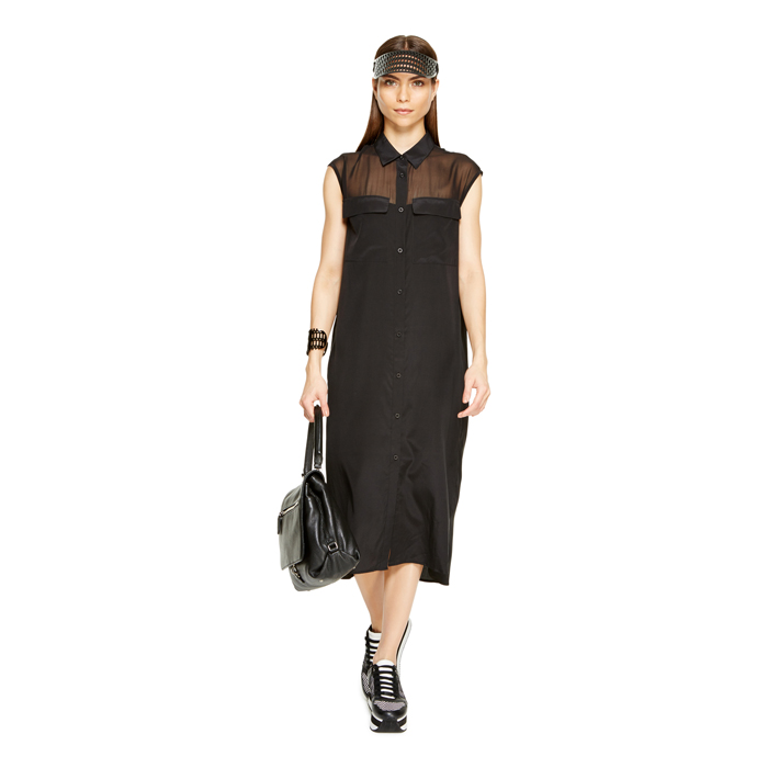 BLACK DKNY BUTTON THRU DRESS Outlet Online