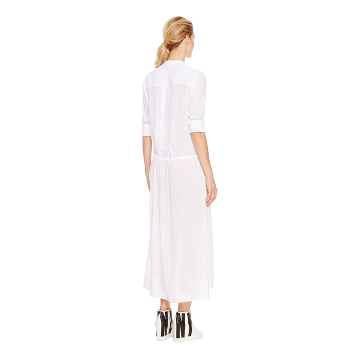 WHITE DKNY DKNYPURE BAND COLLAR MAXI SHIRT DRESS Outlet Online