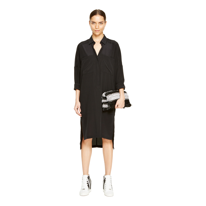 BLACK DKNY STEP HEM BUTTON THRU DRESS Outlet Online