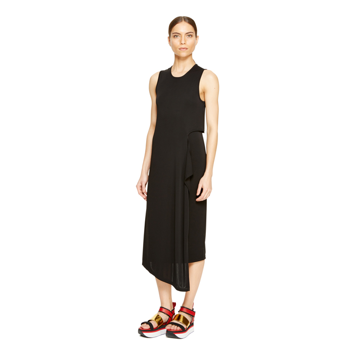 BLACK DKNY CASCADE SIDE JERSEY DRESS Outlet Online