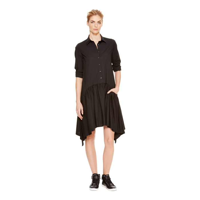BLACK DKNY DKNYPURE CRISP COTTON TRAPEZE DRESS Outlet Online