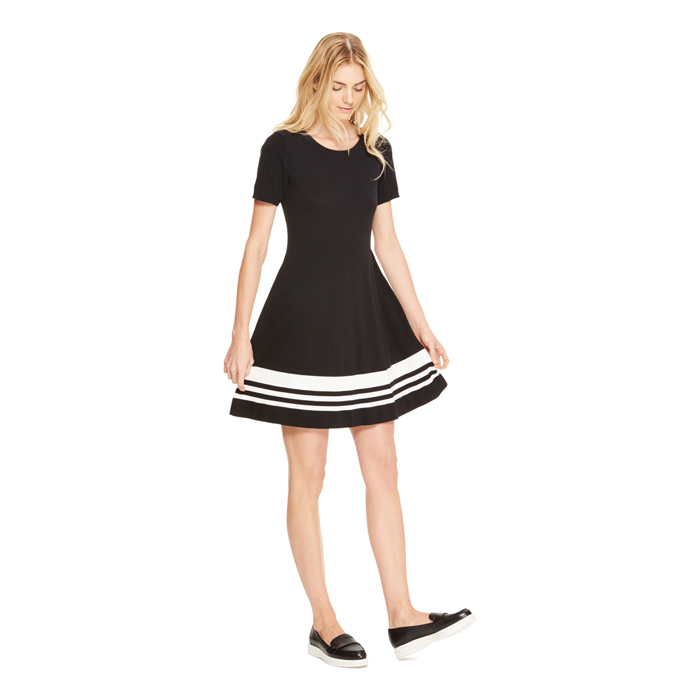 BLACK DKNY FIT AND FLARE STRIPE DRESS Outlet Online