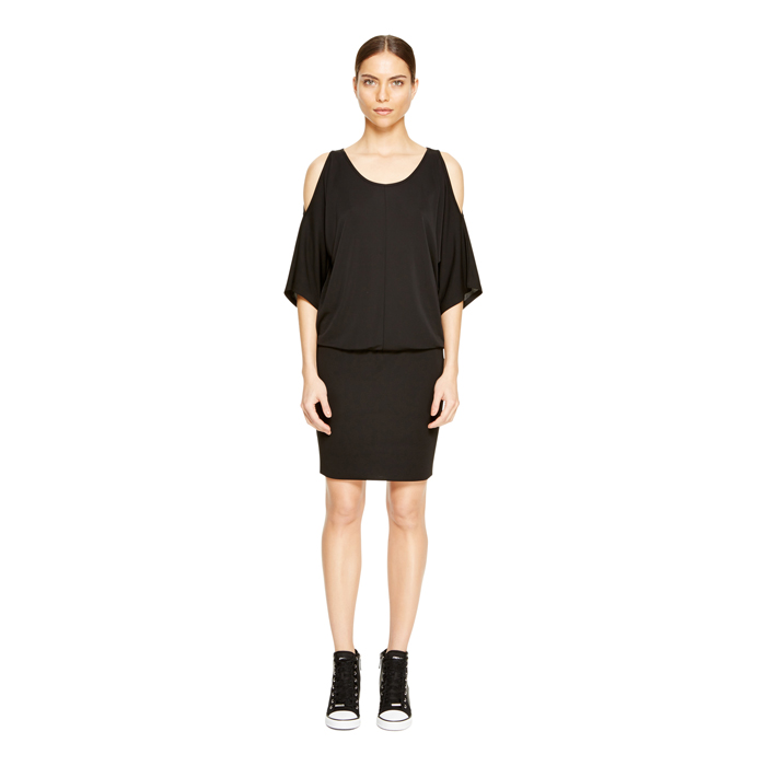 BLACK DKNY JERSEY COLD SHOULDER DRESS Outlet Online