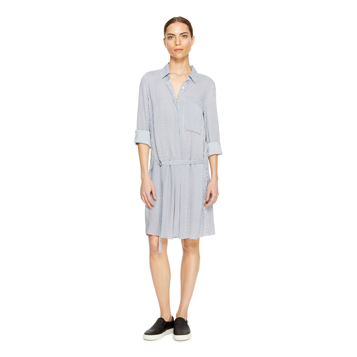 WHITE DKNY DKNYPURE STRIPE SHIRT DRESS Outlet Online