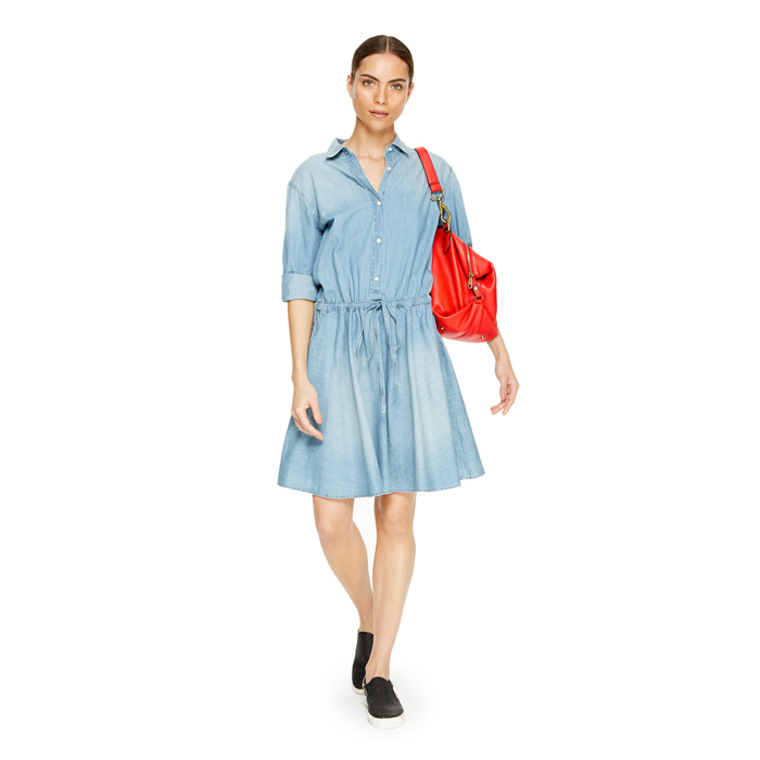 FADED WASH DKNY DKNYPURE LIGHTWEIGHT DENIM DRESS Outlet Online