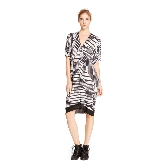 BLACK DKNY DKNYPURE PRINTED COCOON DRESS Outlet Online