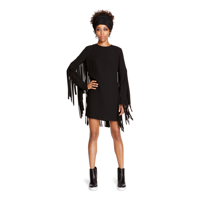 BLACK DKNY FRINGE DETAIL SHIFT DRESS Outlet Online