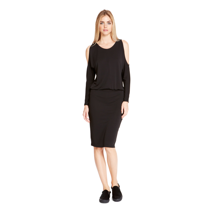 BLACK DKNY COLD SHOULDER JERSEY DRESS Outlet Online