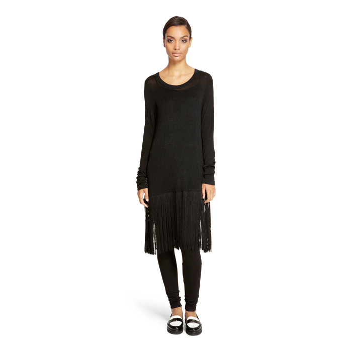 BLACK DKNY FRINGE TUNIC SWEATER Outlet Online