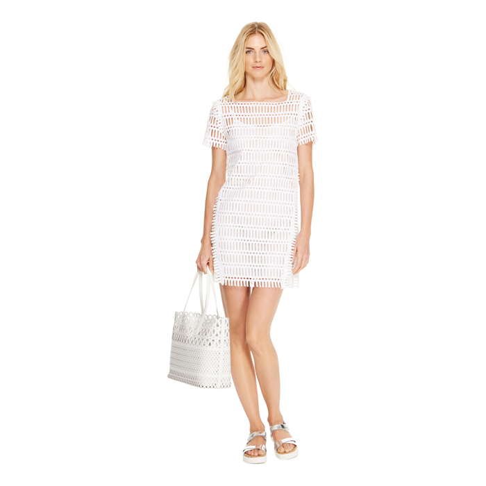 WHITE DKNY EMBROIDERED SQUARE NECK DRESS Outlet Online
