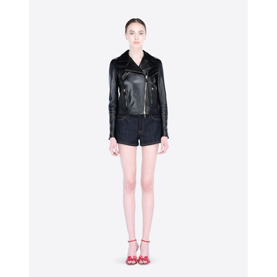VALENTINO LEATHER BIKER JACKET WITH HEART JB3NA00H1Y2 N11 Outlet Online