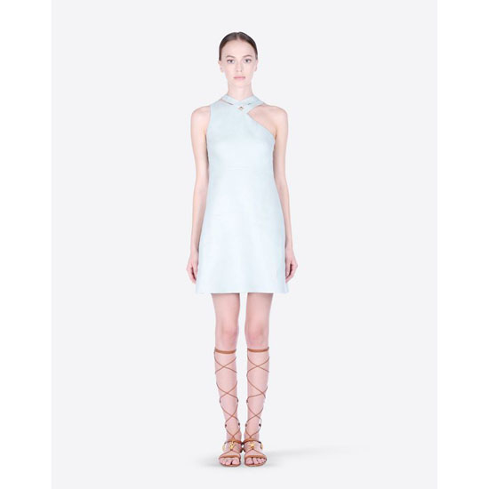 VALENTINO SLEEVELESS DRESS IN DOUBLE LAYER LINEN IB0VA2951SC 385 Outlet Online