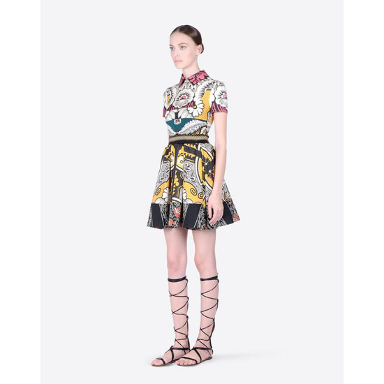 VALENTINO DRESS IN PATCHWORK CREPE DE CHINE IB0VA3B51WT M14 Outlet Online