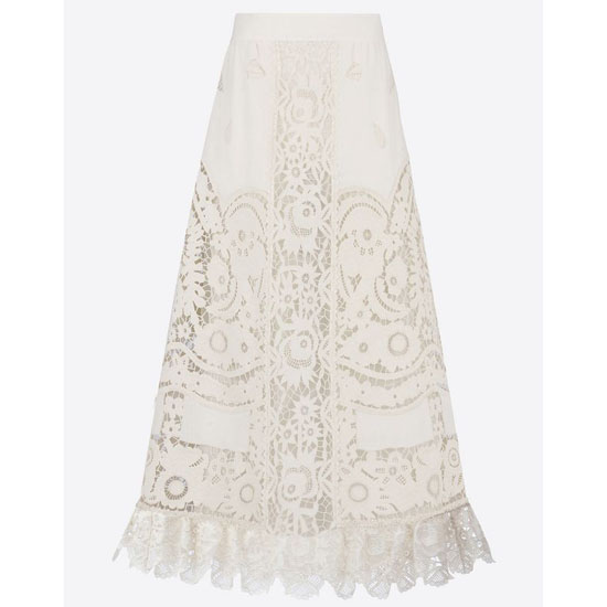 VALENTINO LINEN SKIRT WITH TROUSSEAU EMBROIDERY IB0RA0B51SK A03 Outlet Online