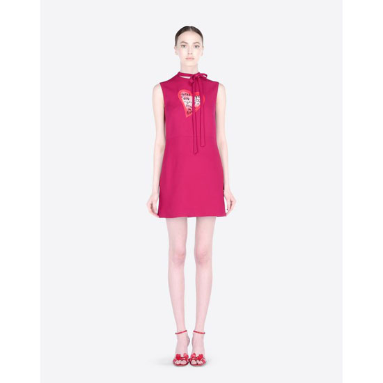 VALENTINO DRESS IN CREPE COUTURE WITH HEART JB3VA3L01CF F26 Outlet Online