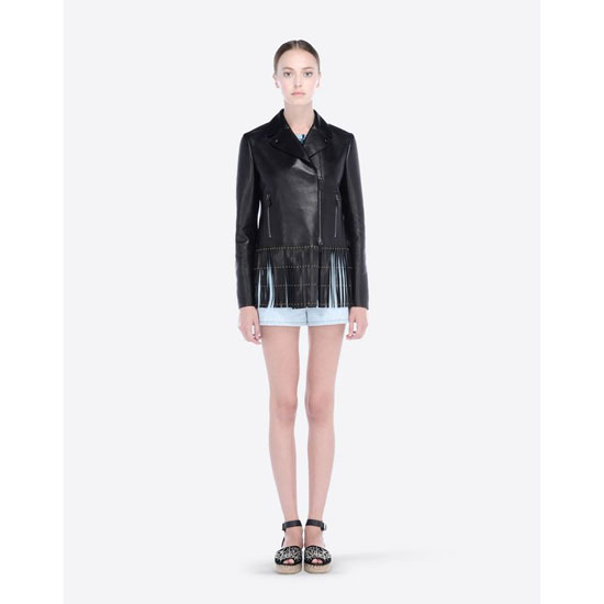 VALENTINO BIKER JACKET IN EMBROIDERED LEATHER IB3NA00C005 0NO Outlet Online