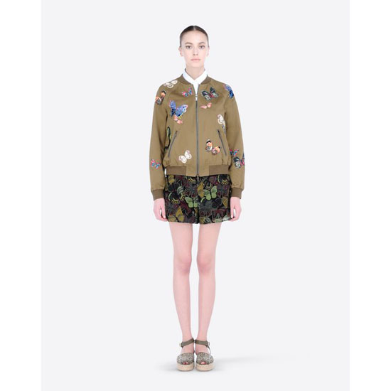 VALENTINO COTTON BOMBER WITH EMBROIDERED BUTTERFLIES IBCCI00A1LQ 825 Outlet Online