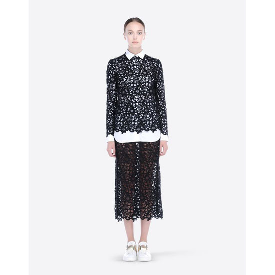 VALENTINO GUIPURE ARABESQUE MIDI SKIRT IB3RA0401MT 0NO Outlet Online