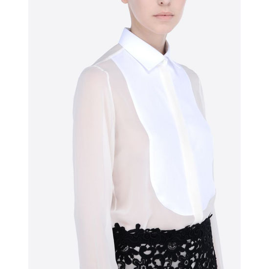 VALENTINO GEORGETTE SHIRT WITH PLASTRON IB3AB00T1NH A03 Outlet Online