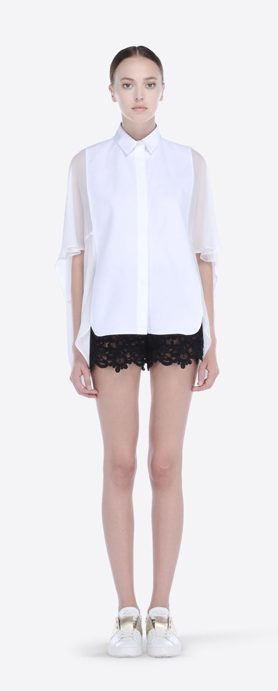 VALENTINO GEORGETTE AND PIQUE SHIRT IB3AB01B1LT A03 Outlet Online