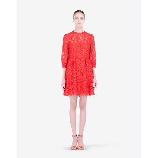 VALENTINO HEAVY LACE DRESS IB3VA1I51EC F28 Outlet Online